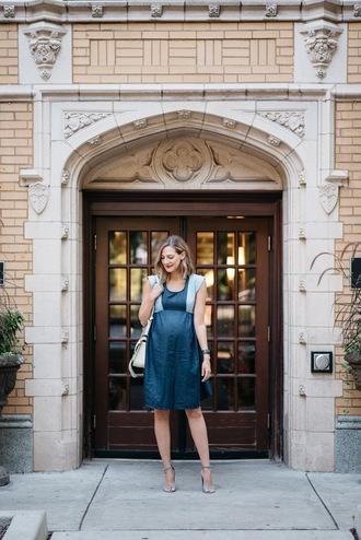 see jane blogger dress shoes bag blue dress midi dress white bag shoulder bag maternity maternity dress sandals sandal heels high heel sandals grey sandals