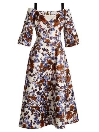 dress satin dress open satin print blue