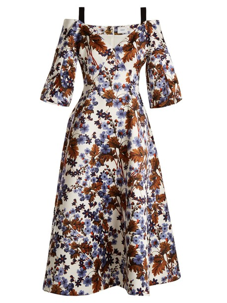 Erdem dress satin dress open satin print blue