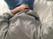 sweater,grey sweater,tommy hilfiger,grey,aesthetic,grunge,pale,pale grunge,tommy hilfiger shirt