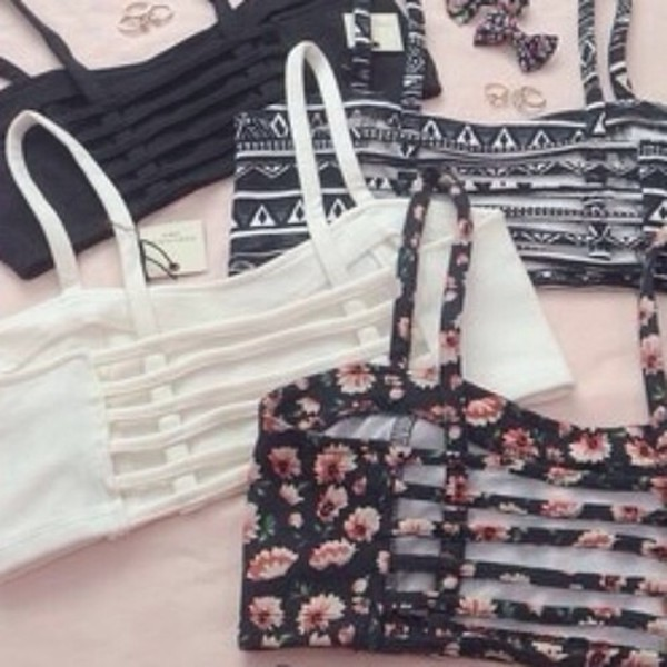 tank top floral bandeau white black aztec top