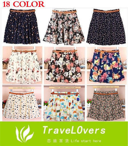 Hot Sale! Free Shipping Floral Printed Muti color Women Chiffon Skirt with Belt TSP1111-in Skirts from Apparel & Accessories on Aliexpress.com