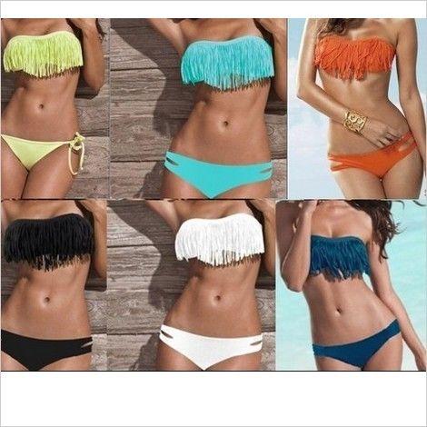 Tassel Lady Girl Padded Boho Fringe Top Strapless Dolly 2pcs Set Bikini Swimwear   eBay