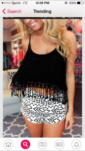 shorts hipster style trendy tribe print cute shorts. summer summer shorts girly indie boho tank top top shirt