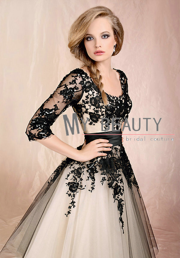 com : Buy Chic Sheer Sleeves Princess Puffy Formal Party Gowns ...