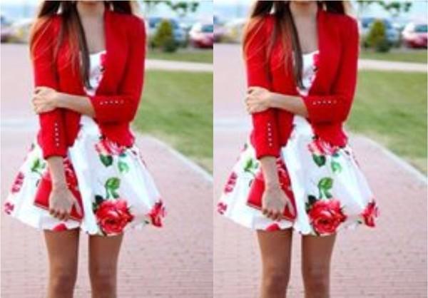 dress rose red day dress mini dress white dress flowers formal