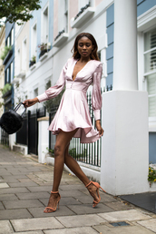dress,tumblr,mini dress,pink dress,satin,satin dress,v neck,v neck dress,sandals,sandal heels,high heel sandals,bag,black bag,shoes