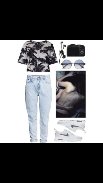 nike nike running shoes grudge hippie acid wash jeans acid wash retro sunglasses black white sneakers white sunglasses jeans