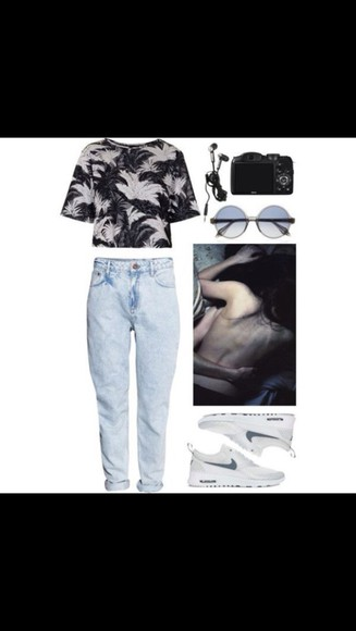 sunglasses jeans nike nike running shoes grudge hippie acid wash jeans acid wash retro sunglasses black white trainers white