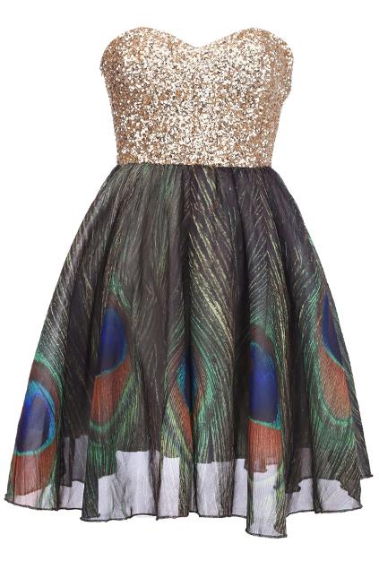 "Golden sequin ""bandeau peacock "" dress, the latest street fashion"