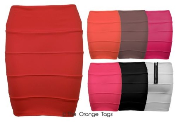 skirt ribbed bodycon dress mini skirt sexy stripes red orange brown white black fuschia pink side panels bandage skirt pencil skirt spring fashion