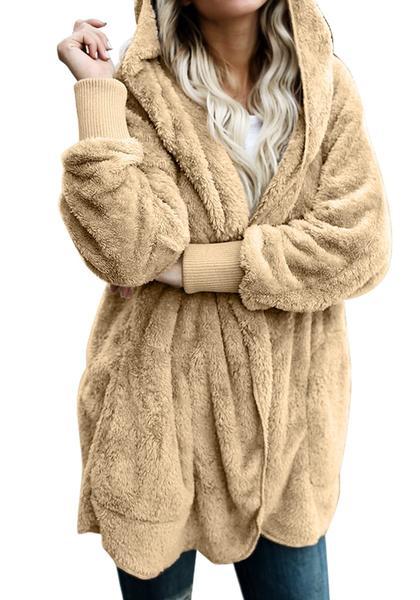 Tan Snuggle Fleece Oversized Hooded Cardigan
