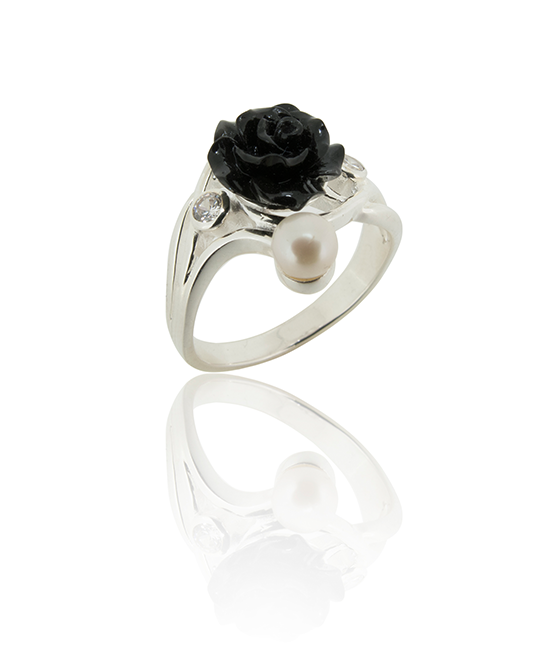 Silver Black Rose | Silver Ring | Silver Jewellery | Stack Rings | BOHEM