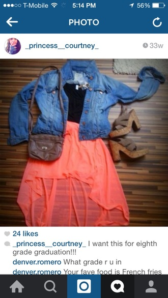 shoes wedges jean jackets skirt