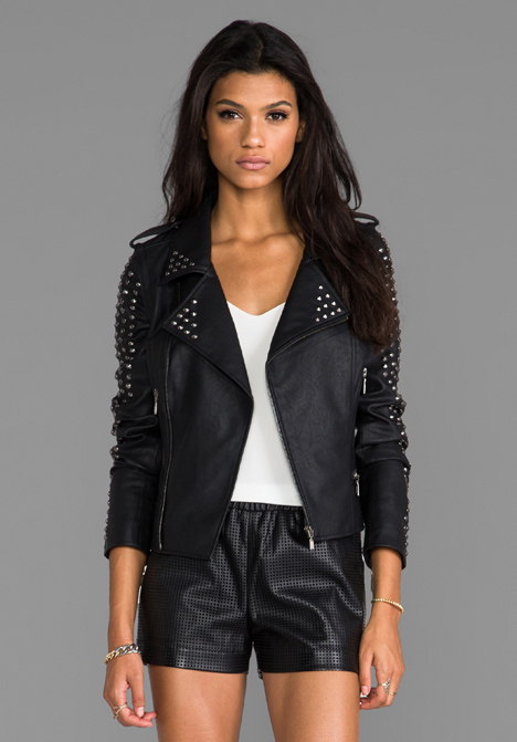 LOVERS   FRIENDS REVOLVE Exclusive Rhona Embellished Vegan Leather Jacket in Black at Revolve Clothing - Free Shipping!