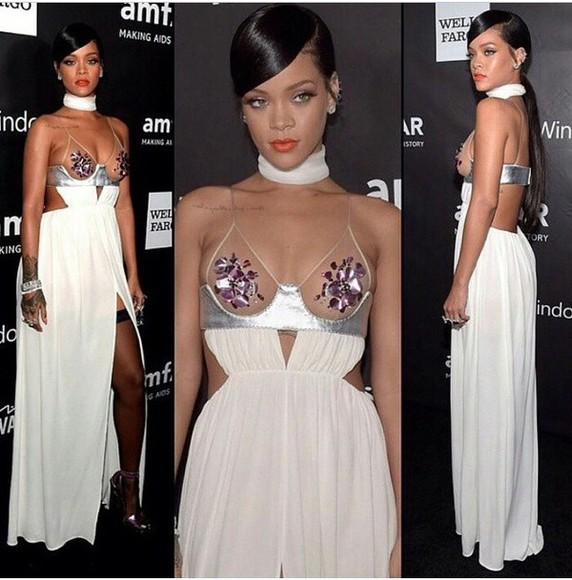 dress rihanna fashion style white dress
