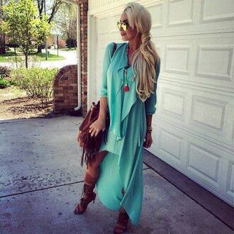dress boho dress turquoise