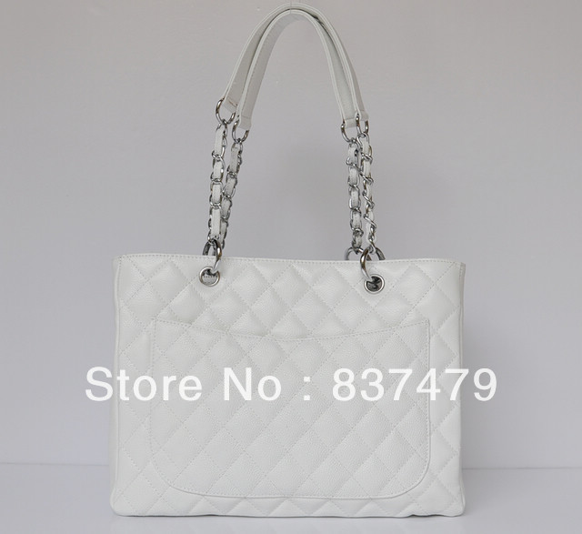 White Leather CC Logo Large Shopping Tote Bag-in Shoulder Bags from Luggage & Bags on Aliexpress.com