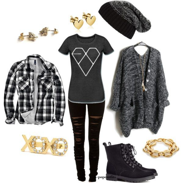 cardigan exo t-shirt jeans ripped jeans beanie fur hat shirt grey cardigan grey t-shirt black ripped jeans black skinny jeans h&m black boots gold ring gold bracelet heart polyvore