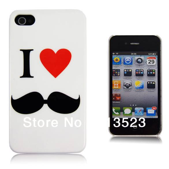 Cool Stylsih Love Heart Hard Plastic Back Case for iPhone 4 4S,Cute Mustache Beard Cell Phone Cover, 50 pcs/lot-in Phone Bags & Cases from Electronics on Aliexpress.com