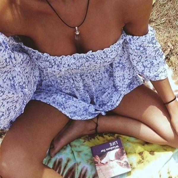 bluewhite blue dress off the shoulder off the shoulder dress off shoulder blouse summer dress