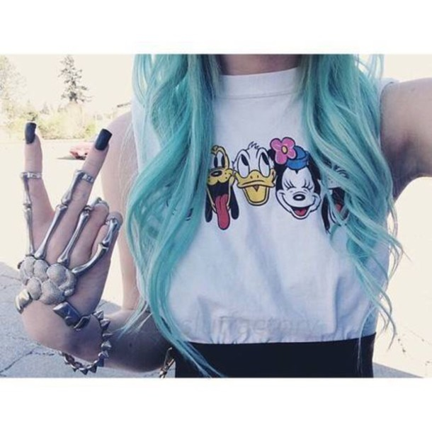 top t-shirt grunge disney gloves