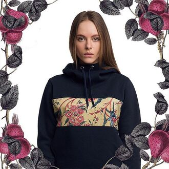 sweater hood hooded sweater navy navy hoodie floral flowers clothes fusion