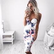 dress,bodycon dress,white,floral dress,bustier dress,midi dress,summer dress,sexy dress