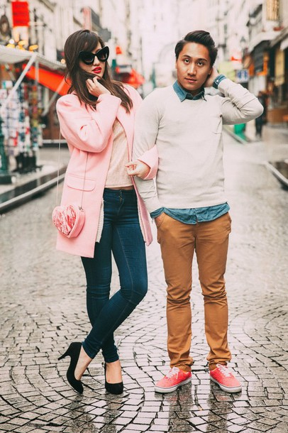 meet me in paree blogger jeans heart menswear pink coat black heels