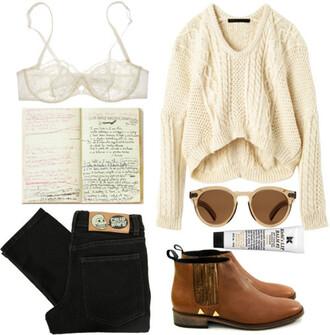shoes sweater shirt underwear skirt jeans sunglasses fall outfits indie knit natural brown boots chamois