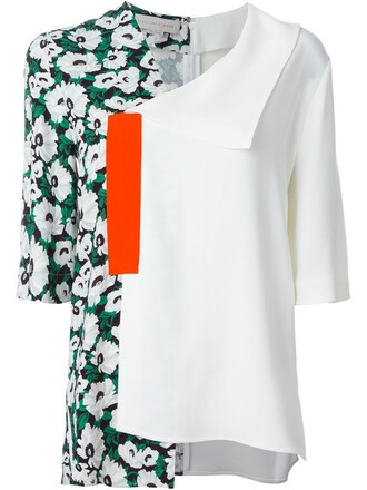 blouse floral white top