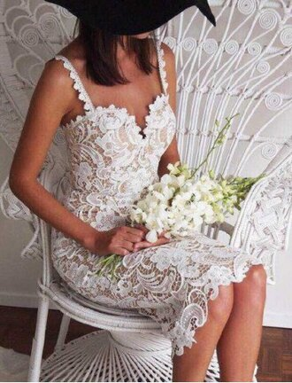 dress lace fashion white style summer sexy cute midi dress feminine romantic embroidered