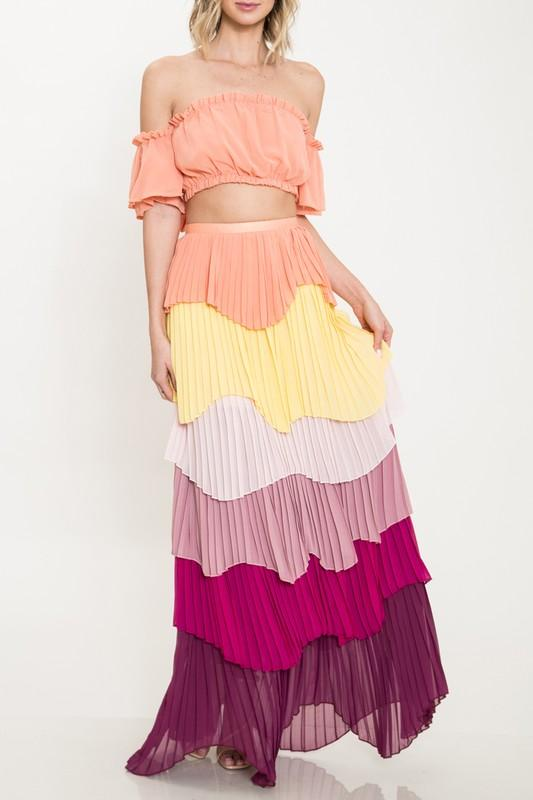 Tiered Two Piece Maxi Skirt Set