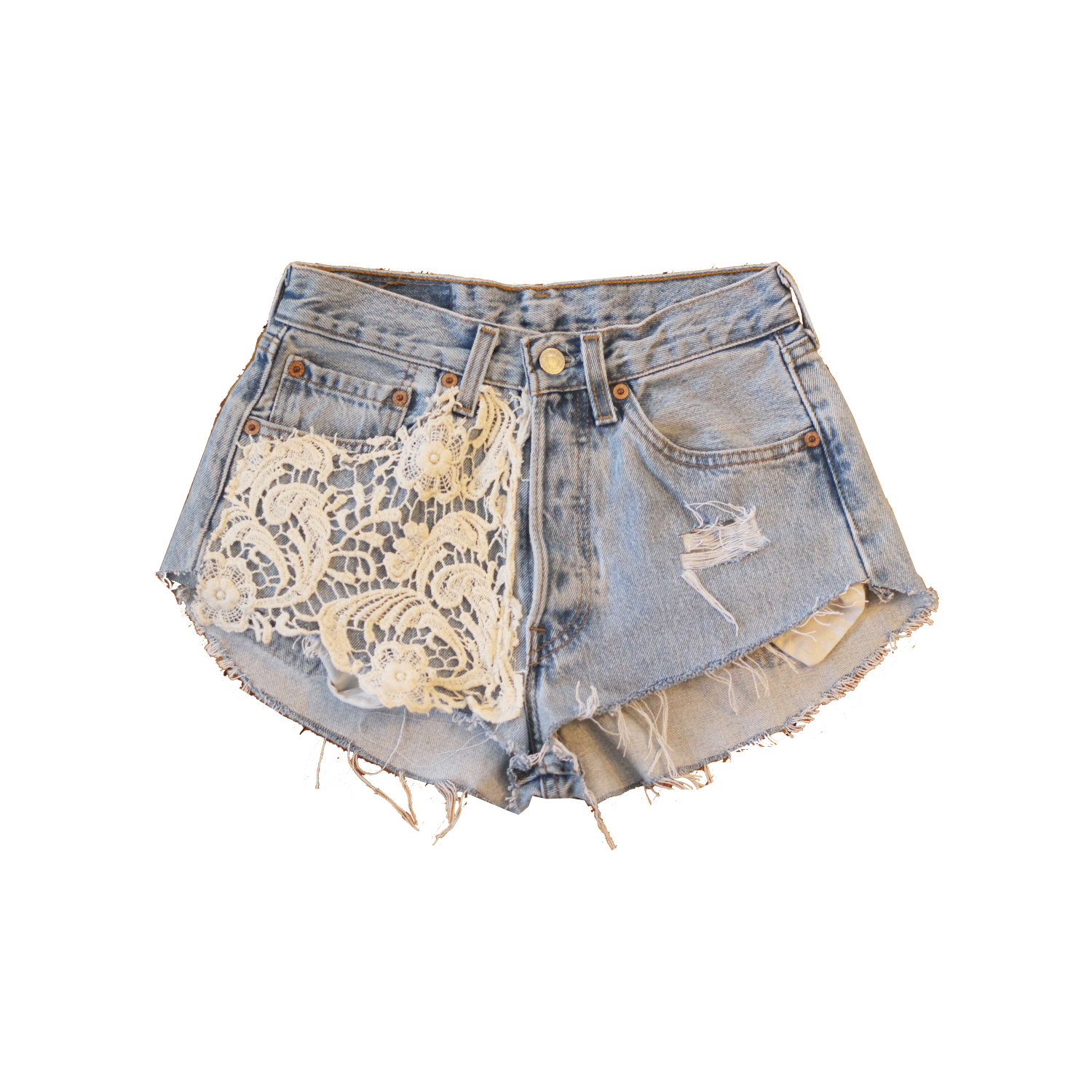 Vintage lace collection highwaisted 501 levi shorts with crochet pocket.