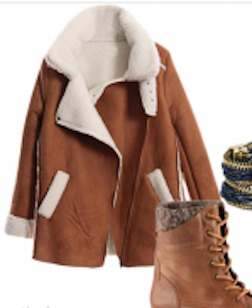 Coat: clothes, jacket, brown, winter outfits, warm, shearling ...