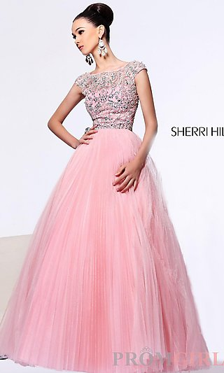 Sherri Hill Beaded Ball Gown, Cap Sleeve Ball Gowns- PromGirl