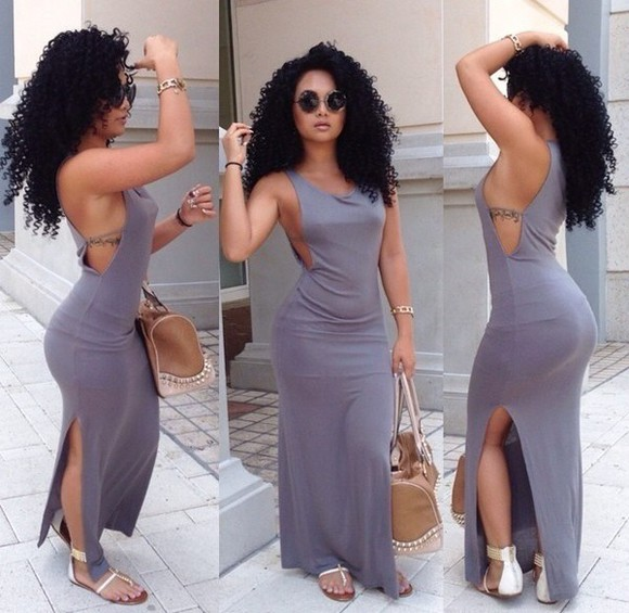 maxi skirt dress maxi dress summer dress summer outfits split skirt girls grey dress split dress slpit