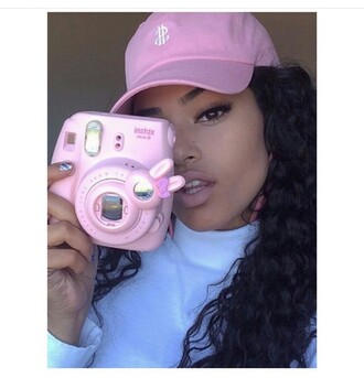 pink camera hat pink cap urban pastel pink home accessory camera polaroid camera bunny pink instax cute