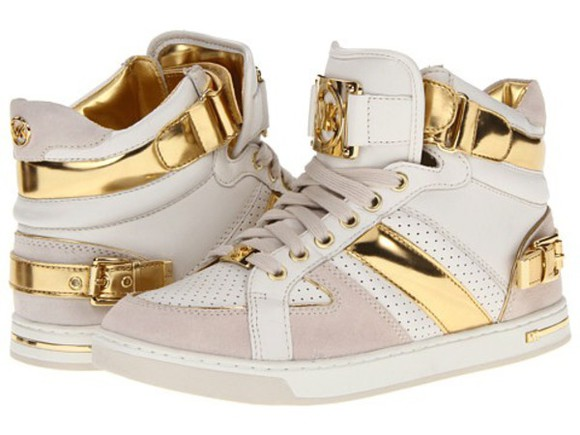 shoes sneakers michael kors mk shoes white and gold suede sneakers cute shoes brand mk shoes gold#michaelkors#mk#