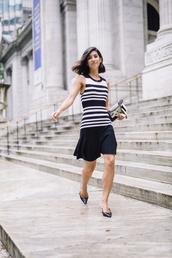 dress,stripes,mini dress,heels,bag,earrings,chain bag