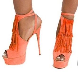 shoes fringe shoes orange party shoes peep toe heels high heels