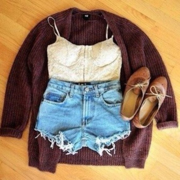 cardigan shirt half corset flats high waisted short shoes shorts sweater