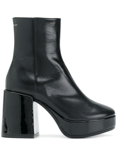 Mm6 Maison Margiela women platform boots leather black shoes