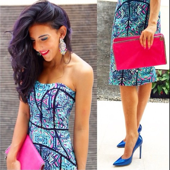 blue dress aztec aztec dress dress colourfult pink dress