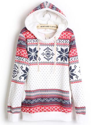 Hooded geometric white sweatshirts s001819