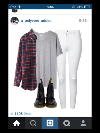 t-shirt outfit grey t-shirt white jeans flannel shirt red shirt