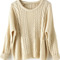 Apricot batwing long sleeve pullovers sweater - sheinside.com