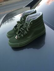 shoes,vans,green,suede,high top sneakers,old skool,sk8-hi,army green,classic,dope,olive green,green sneakers