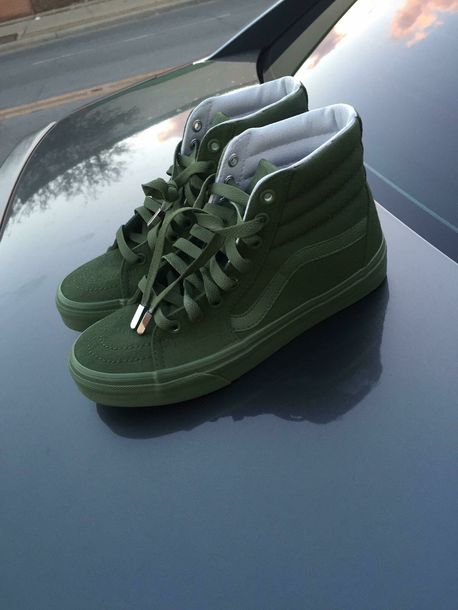 87fc6e69c5 shoes vans green suede high top sneakers old skool sk8-hi army green  classic dope