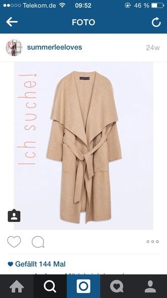 coat zara coat camel handmade handmade wool trench zara coat lapel collar long trench coat bloggers style fashion clothes autumn/winter belted coat loose coat